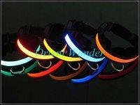 DHL Freeshipping LED pet collar flashing dog collar necklace/cat collar outdoor Glow Nylon 100pcs/lot wholesale Bulk price