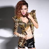 Sexy Women Leopard Coat Fashion Dance Costume Cool DS Jazz DJ Sexy Exude Leopard Print Clubwear Gold Rivet Top Outerwear