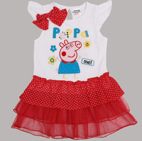 Free shipping 2013 new 5pcs/lot girl short sleeve three layers lace dress with polka dots bow and embroidery peppa