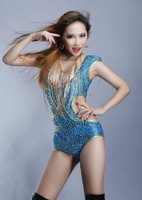 Free Shipping Fashion female singer jazz dance costumes clothes liangsi ds costume bodysuit