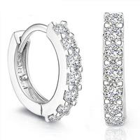 Shiny Rhinestone 925 Sterling Silver Hoop Earrings Women's Designer Jewelry Free Shipping (SE040)