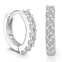 Shiny Rhinestone 925 Sterling Silver Hoop Earrings Women's Designer Jewelry Free Shipping (SE040)