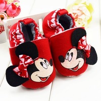 Free shipping 2014 Fashion lovely mickey printing pattern girls baby pre toddler shoes 13cm children's casual shoes