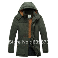2013 nick coat men's clothing medium-long slim detachable cap wadded jacket male winter outerwear male cotton-padded jacket CARE