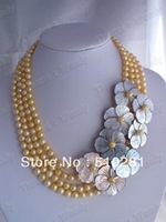 No, 005 fashion freshwater pearl beads flower jewelry necklace