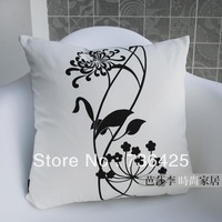 45cm*45cm Black & White Canvas Chrysanthemum Cushion Cover Double Side