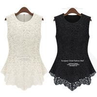 2013 summer fashion short-sleeve lace shirt basic shirt doll chiffon shirt top sleeveless women.Good quality.