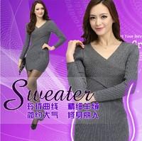 Fashion Wool Sweater Medium-long Autumn And Winter V-neck Women's Base Shirt
