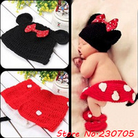Cute Infant Baby Mouse Knit Costume Photography Prop Crochet Beanie Hat Cap, Shower Costume,hat +skirt+pants+shoes free shipping