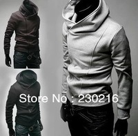 1pcs Fashion 196 Men oblique zipper hooded sweater,Men's Grey Adult men Jackets Coats