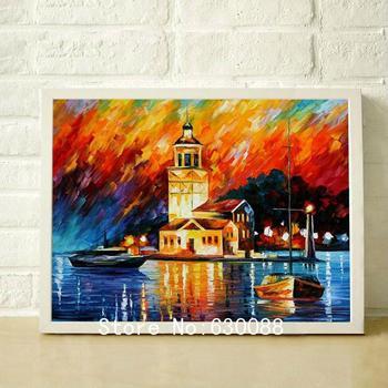 100% peças pintadas à mão a arte da parede da paisagem pintura a óleo sobre tela Seascape Ondas Rosy Amanhecer imagem, JL - 017