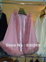 """60cm cashmere cape with 4"""" straight  fox fur trim  with hood"""