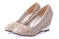 2013 New Autumn Single Shoes Female High-heeled Lace Wedges Round Toe Women's Work Casual Black Beige Women Higher Ladies