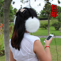 Free Shipping Faux Fox Fur Wool Earmuffs Mp3 Mp4 Computer Earphones Faux Rabbit Fur Super Warm Earmuffs Women Headphone