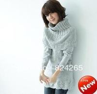 2014 Limited Promotion Long Pullover Autumn And Winter Sweet Medium-long Ruffle Knitted Basic Shirt Sweater Female Scarf Muffler