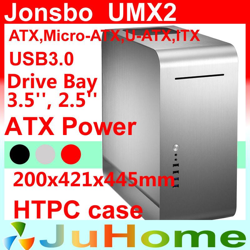 Retail box, free gift 14cm fan, HTPC case ATX, USB3.0, 3.5'' HDD, ATX power supply, Jonsbo UMX2, other V2, V3+, V4, U1, U2, V6(China (Mainland))