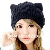 Free shipping 2013 New Arrival Winter Warm Hat Women's Devil Horn Knitted Hats Cute Cat Ears Knitting Caps Female hat