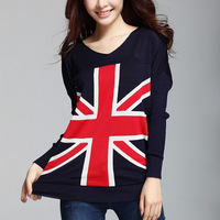 2014 New Fashion Women's Knitted Sweater Batwing Sleeve V-neck Collar Flag England Printed Woman's Pullover Sweaters Tops nz159