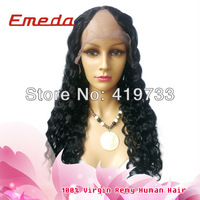 wholesale fashion stock human hair wig free shipping 18'' 1b new style curl no shedding no tangle glueless U part lace front wig