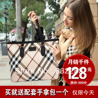 Fashion brief fashion check women's genuine leather handbag 2013 women's cowhide shoulder bag