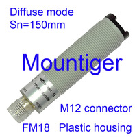 Photoelectric sensor Mountiger plastic housing FM18 diffuse mode switching distance  150 mm PNP-Light NO and Dark ON connector