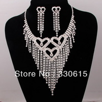 Free Shipping Hot Selling Rhinestone Fashion Love Wedding Jewelry Sets Choker Necklace  Necklace Chain Heart Crystal Jewelry