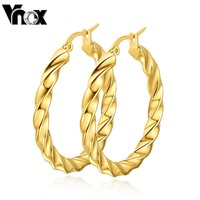 18K gold hoop earrings for women christmas gift  stainless steel earring