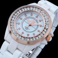 2014 New sale women luxury rhinestone ceramic watches ladies crystal rose gold watch wedding dress watch for couple montre 8645