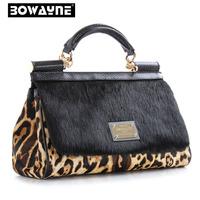 New Winter Fashion Luxury Women's Genuine Leather Brand Handbag Leopard horsehair Fur bag