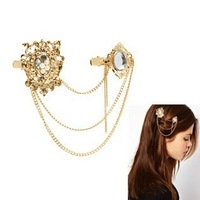 New Nobel Temperament Jewelry rhinestone Carved Flowers with Gold tassel chain Barrettes Women Hair Accessory Free shipping !