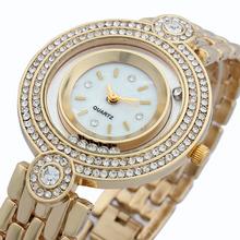 2014 relógios de ouro para as mulheres senhoras strass vestido de ouro diamante pulseira de relógio Relojes relogios parágrafo Mulher moda feminina(China (Mainland))