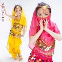 BELLYQUEEN~Performance Children Belly Dance Costume 4PCS(Top+Shinning Sequins Pants+Headdress+Headveil),Girl's Indian Dance Set