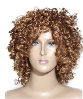 Capless Synthetic Fiber Golden Curly Hair Wig