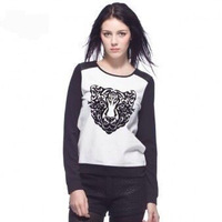 free Shipping Tiger Printed Animal Hoodies Women's Long Sleeve Thin Pullovers Autumn Sweatshirts White/Gray 2120