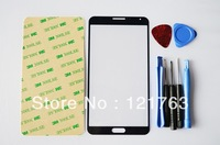 Free Shipping Blue Front Screen Lens Glass Cover Replacement For Samsung Galaxy Note III  N9000 With Tools And Adhesive