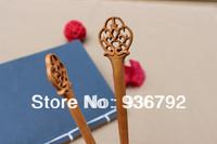New 2014 original peach wood handmade girl headwear hair clip hair accessories  flowers hair pins hair styling for women