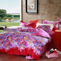 Free shipping cotton twill textile linen quilt pillowcase bedding four cotton reactive printed bedding se