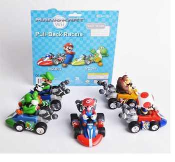 Free Shipping  Super Mario Bros Car Toy Full Set 5pcs/Set Super Mario Bros. Kart PULL BACK Cars Figures super mario kart