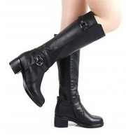 Free Shipping !2013 New Arrival,Women's Autumn and Winter Leather Metal Buckle Motorcycle Boots Zipper Tall Bboots