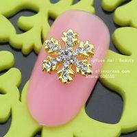 sh091 snow christmas  wholesale 50pcs Glitters Alloy Rhinestones Crystal Pearl 3D Nail Art Tips Decorations DIY