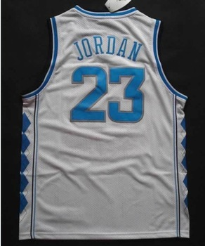 Free Shipping NCAA College Basketball Jersey North Carolina Tar Heels #23 Michael Jordan white/ blue