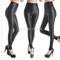 Freeshipping European and American fashion models high waisted leather leggings leather pants elastic warm pants winter leggings
