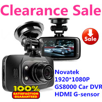 Clearance Sale Novatek GS8000 Car DVRs Full HD 1920X1080P G-Sensor IR Night Vision  2.7 inch 140 Degree Angle Free Shipping