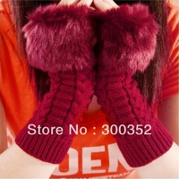 Fashion women winter gloves warm knitted fur mittens