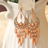 New Fashion Hot Selling Wedding Gift Gold Color Pink Imitation Gemstone Bohemia Flower Design Alloy Drop Earring for Women E-013