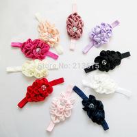 Free shipping Infant satin flower headband Babies girls hairband Toddler Baby girl's Felt Flower headbands 10pcs/lot FD030