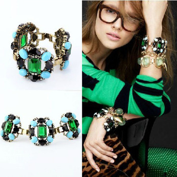 Shopping festival 2013 Hot sale Fashion European and American style Exaggerated colored bracelets bangles Free shipping !