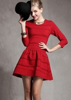 2013 women's new arrival fashion victoria slim pressure pleated short design one-piece dress  LY