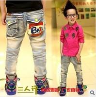 Free Dorp shipping 2014 New Fashion Boys'Fashion Trousers Pants Children Ball Print Jeans B007