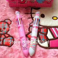 Free Shipping Wholesale 6Pcs/Lot Hello Kitty Ball Pen 10-color Ink Ball Pen School Stationery